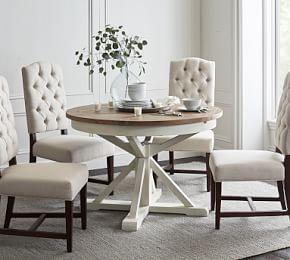 Hart Reclaimed Extending Pedestal Dining Table, Driftwood White