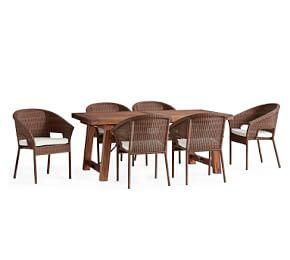 Benchwright Extending Table & Palmetto Honey Stacking Chair Dining Set