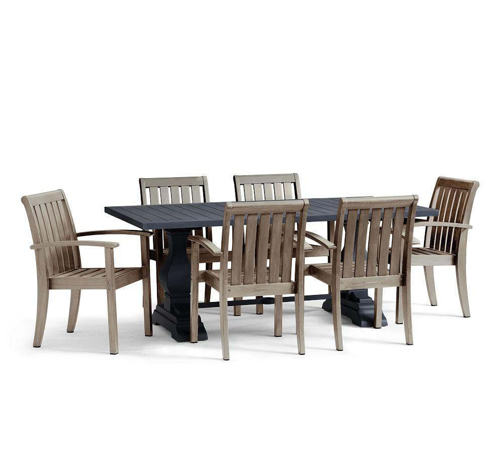 Alameda Dining Table with Chatham Chair Set, Gray