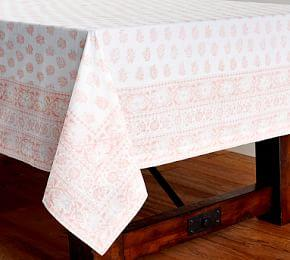 Block Print Lucia Blush Floral Tablecloth