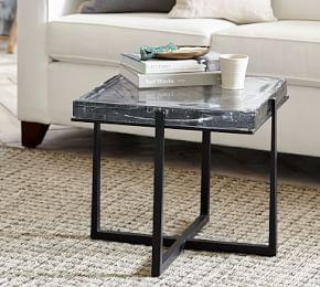 Cori Cast Glass Square End Table