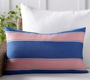 Outdoor Personalized Alessandra Stripe Lumbar Pillow
