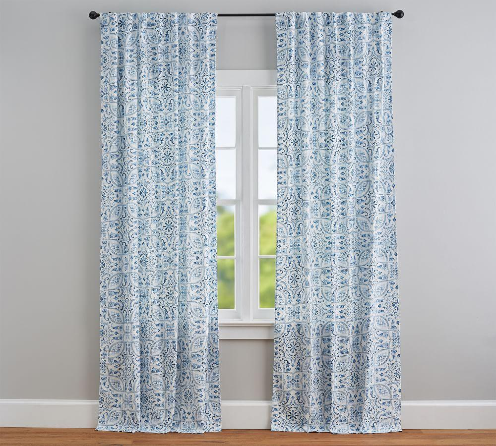 Selby Tile Curtain Set of 2 - Blue
