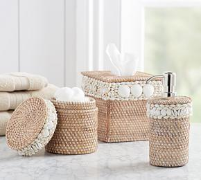 Shell Rimmed Rattan Accessories