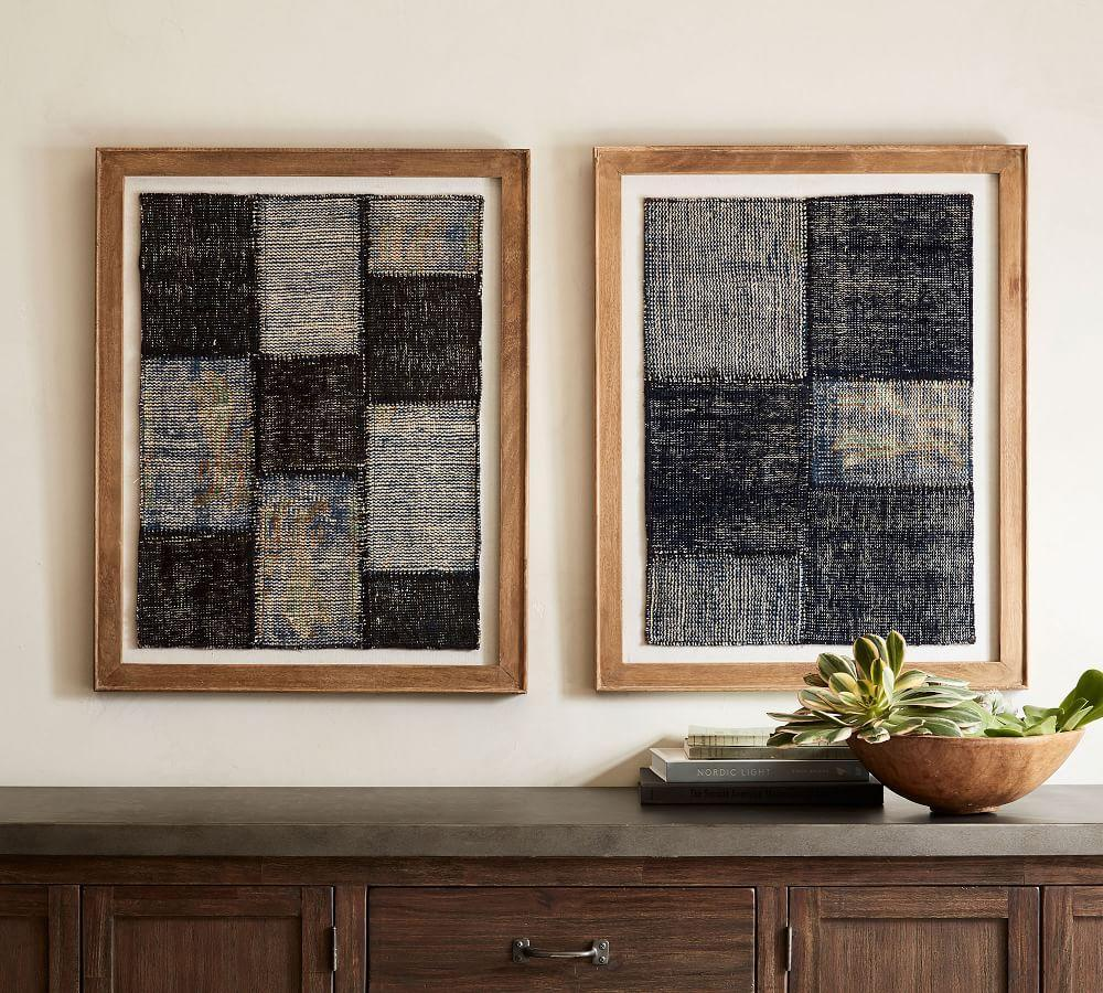 Framed Patchwork Textile Wall Art