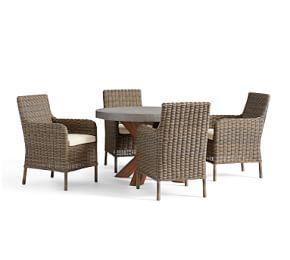 Abbott Round Brown Table & Huntington Arm Chair Dining Set
