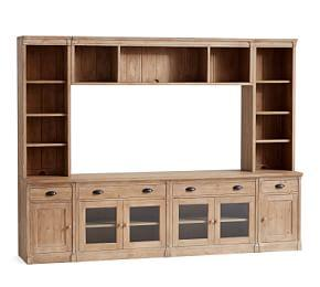 Lucca Medium Entertainment Center with Glass Doors & Bridge