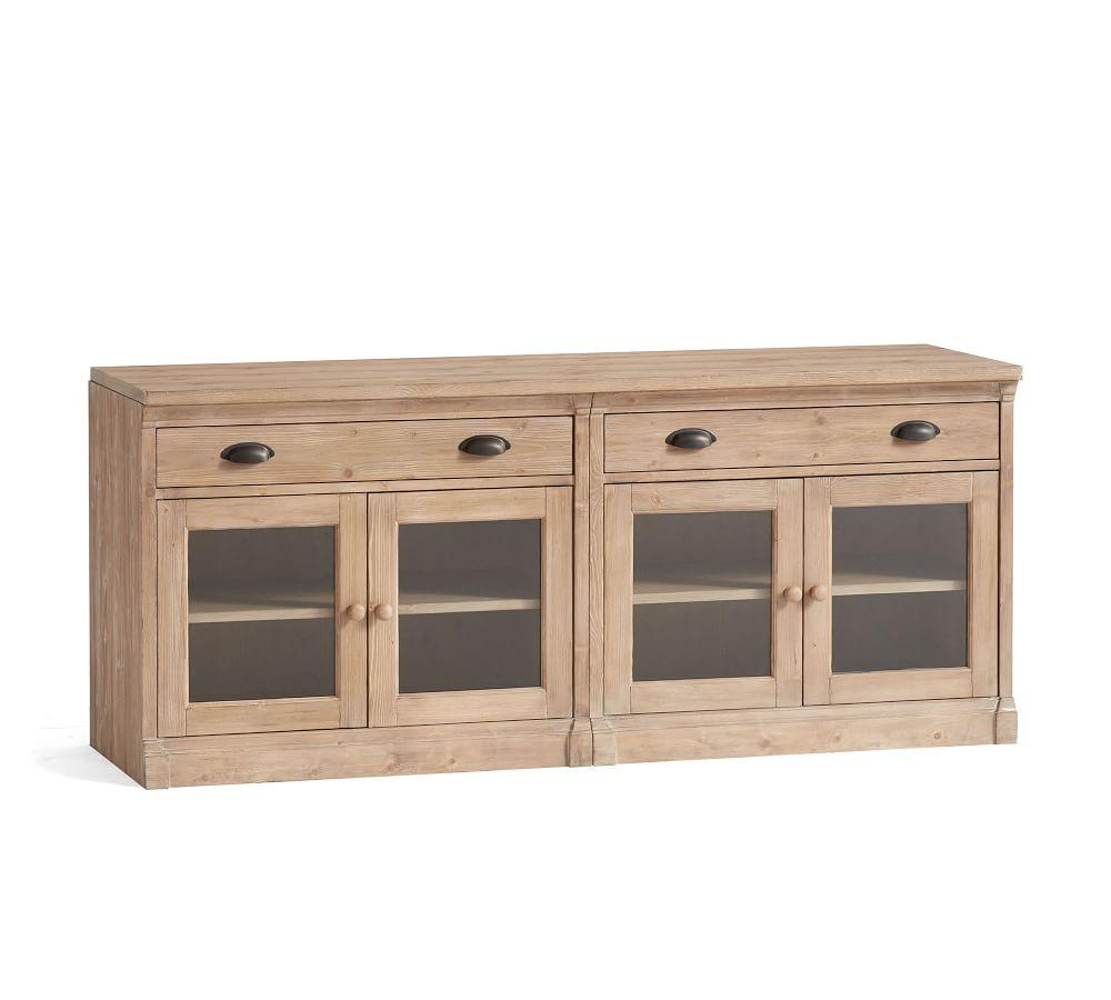 Lucca Small Tv Stand With Glass Doors Pottery Barn Ca