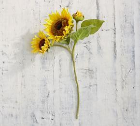 Faux Blooming Sunflower Stem