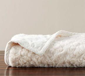 Faux Fur Wavy Alpaca Throw