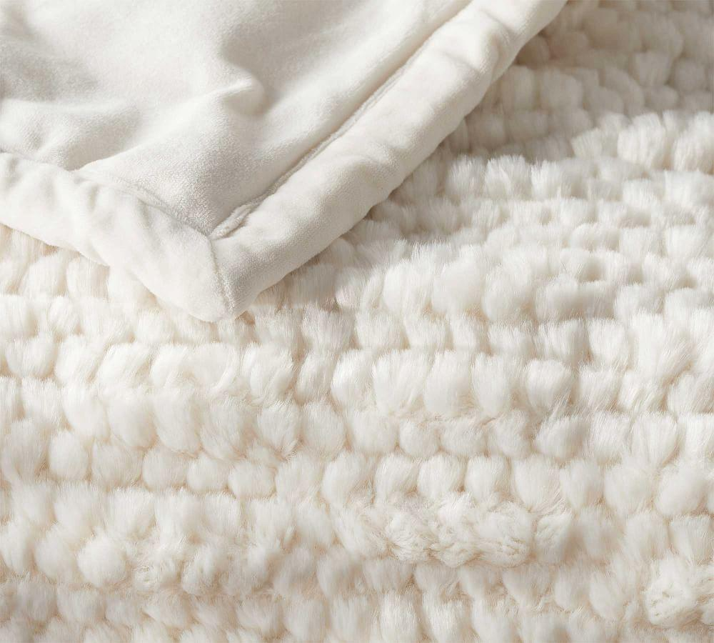 Faux Fur Ivory Honeycomb Throw