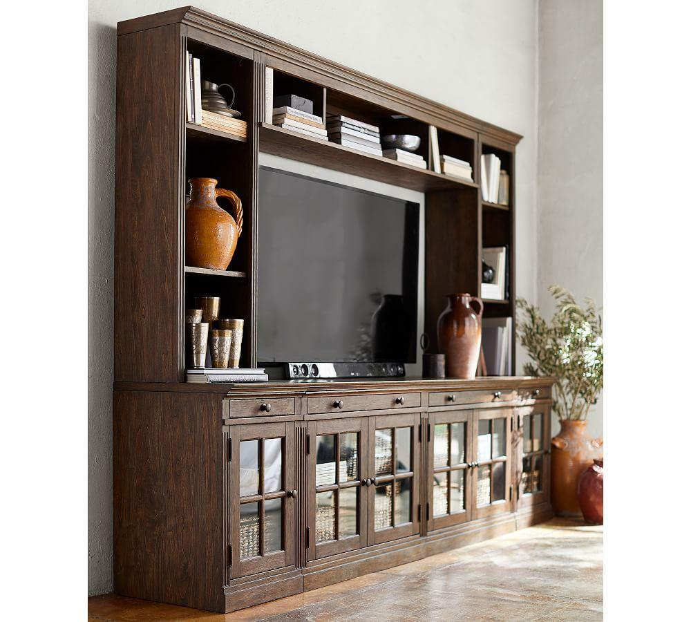 Livingston Medium Entertainment Center with Glass Doors, Dusty Charcoal