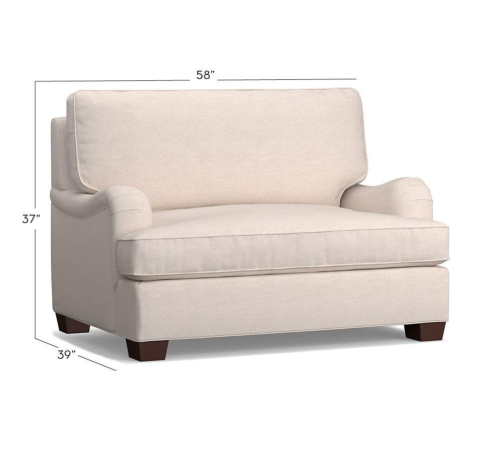 PB English Arm Upholstered Twin Sleeper Sofa with Memory Foam Mattress