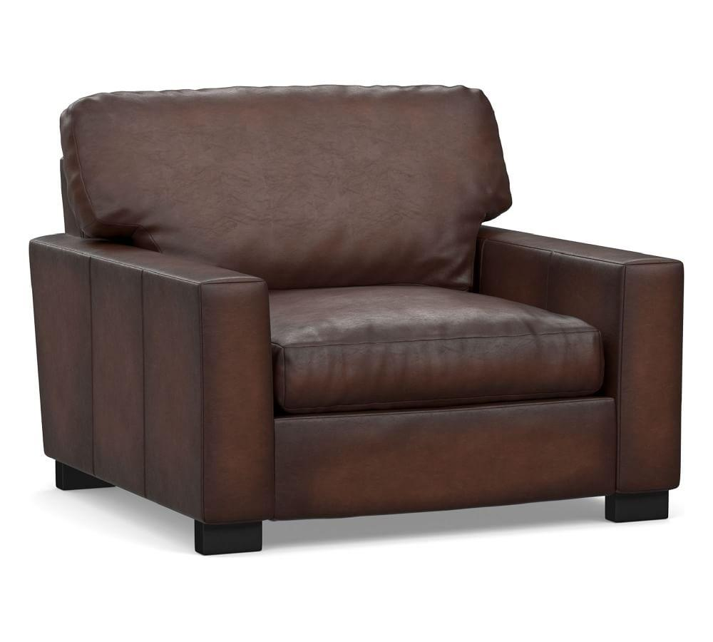 Turner Square Arm Burnished Leather Armchair
