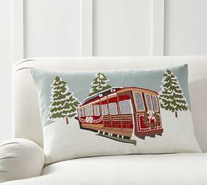 Snowfall Cable Car Embroidered Pillow Cover