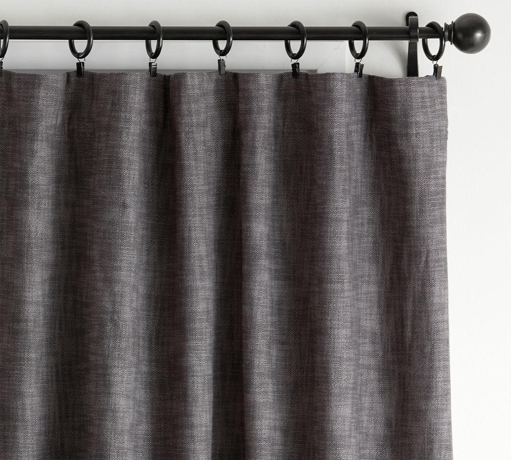 Seaton Textured Blackout Curtain - Charcoal