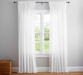 Smocked Sheer Curtain - White