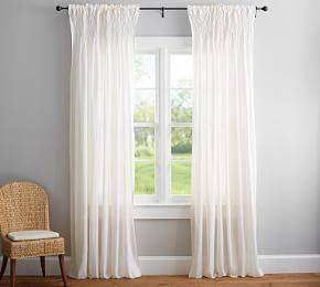 Smocked Sheer Curtain - Ivory