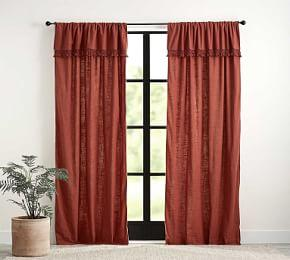 Tassel Trim Textured Curtain - Paprika