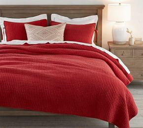 Pick-Stitch Handcrafted Quilt & Sham - Cardinal Red