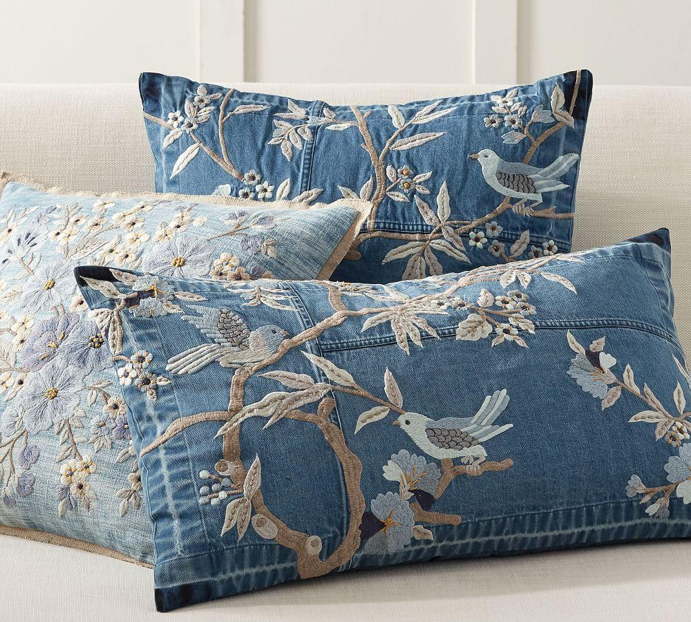 Denim Floral Embroidered Pillow Cover
