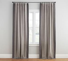 Emery Linen/Cotton Framed Border Curtain - Gray/Charcoal