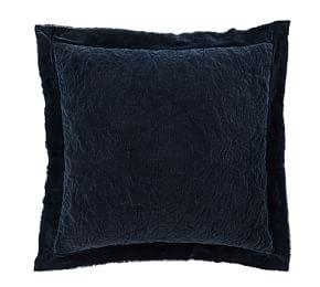 Velvet Floral Quilted Shams - Midnight