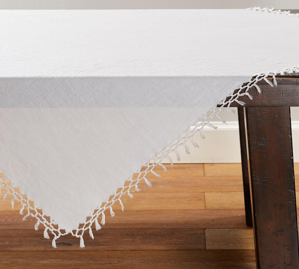 Belgian Linen Fringe Knotted Table Throw