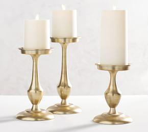 Chester Brushed Brass Candle Holders