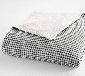 Gingham Cotton Sherpa Blanket