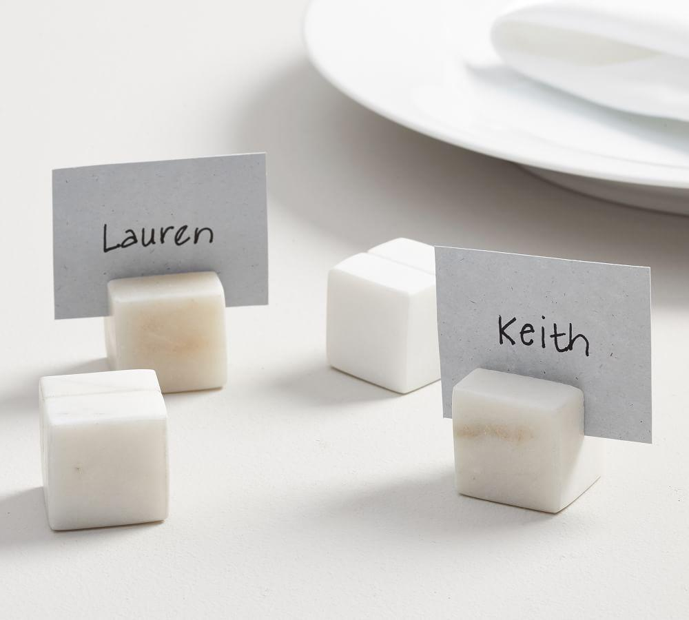 White Marble Place Card Holder, Set of 4