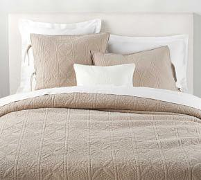 Hanna Cotton Linen Blend Quilt & Shams - Simply Taupe