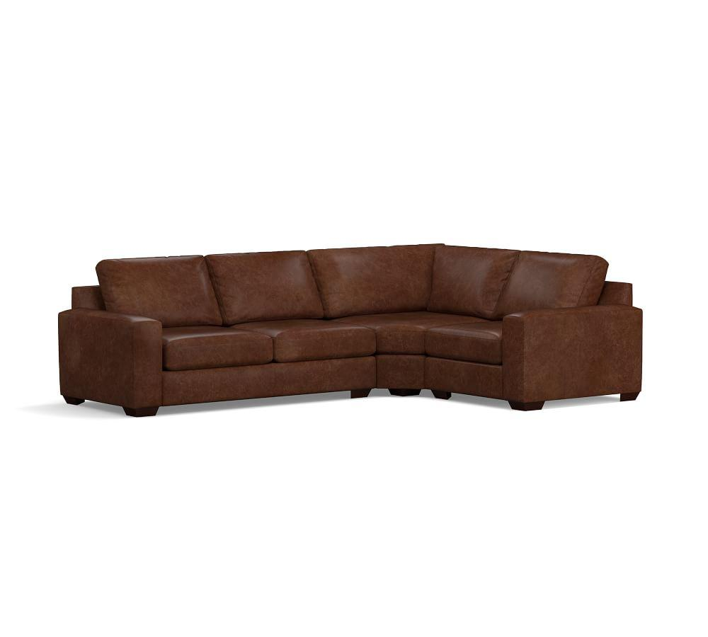 Big Sur Square Arm Leather 3-Piece Wedge Sectional