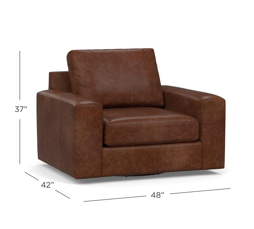 Big Sur Square Arm Leather Swivel Armchair