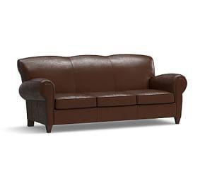 Manhattan Leather Sleeper Sofa with Nailheads