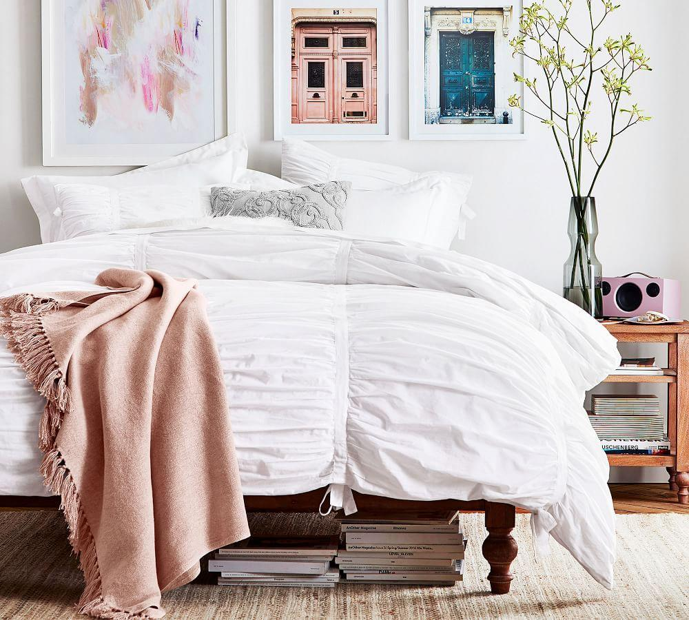 Hadley Ruched Cotton Duvet Cover & Shams