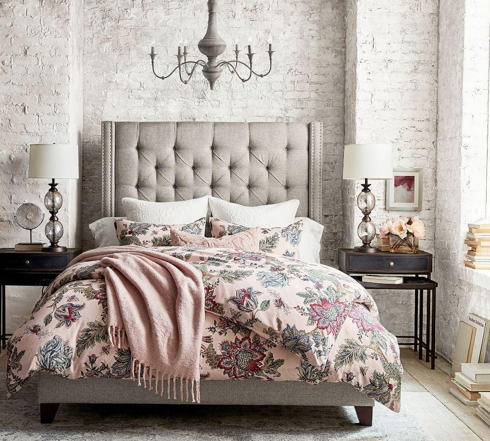 Harper Upholstered Tufted Tall Bed Pottery Barn Ca