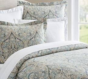 Mackenna Paisley Percale Duvet Cover & Shams - Blue