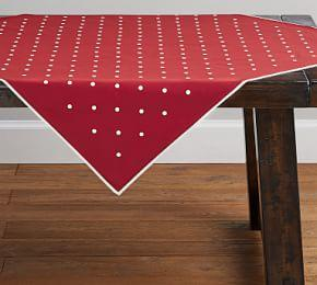 Polka Dot Embroidered Red Table Throw
