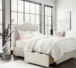Raleigh Upholstered Curved Tall Storage Bed