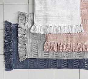 Striped Tassel Bath Mat