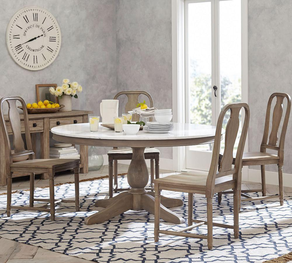 Alexandra Round Marble Pedestal Dining Table