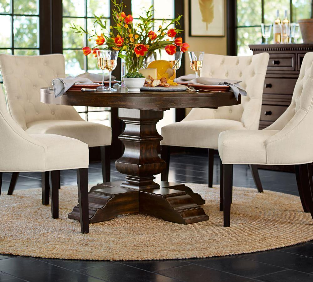 Banks Extending Pedestal Dining Table Grey Wash Pottery