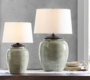 Courtney Ceramic Table Lamp Base, Seafoam