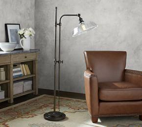 PB Classic Articulating Floor Lamp with Farmhouse Glass Shade