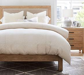 Beck Ruched Cotton Duvet Cover & Shams - Flax