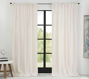 Ferguson Textured Cotton Pole-Pocket Curtain - Ivory