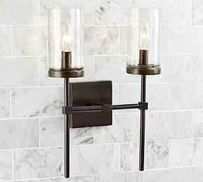 Rustic Torch Double Sconce