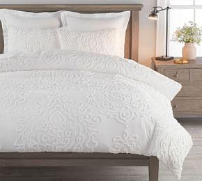 Renee Candlewick Sateen Duvet Cover & Shams - White