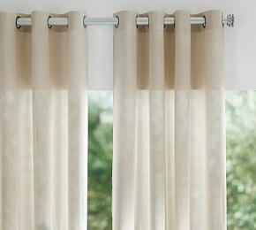 Indoor/Outdoor Sheer Grommet Curtain - Stone